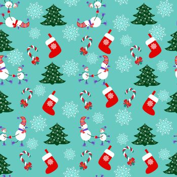 Cute Christmas Seamless Pattern Background - Illustration