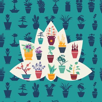 Background Vector stilyzed silhouette of garden flowers  and  herbs pot plants icons set - Illustration