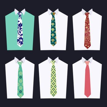 Vector fashion illustration of men accessories . Fashion of different Neckties  for design fashion look