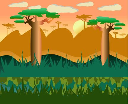 Vector cartoon african natural landscape  background with baobab illustration