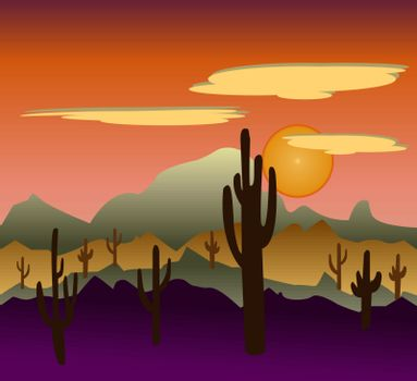 Desert wild nature landscapes with cactus and   mountain background. Cactus plants in desert  Mexican desert sunset.