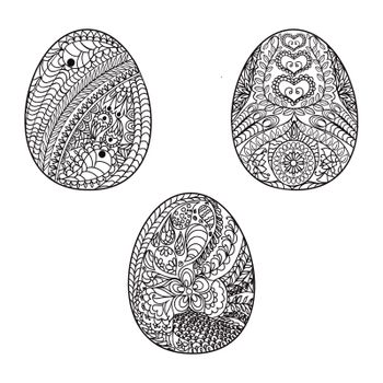 Hand drawn easter eggs for coloring book for adult and design elements