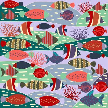 Vector pattern decorative with colorful cute fishes. Cartoon vector illustration