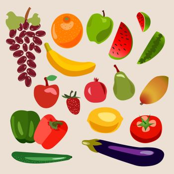 Vector collection of fruits and vegetables. Heathy  food for Organic shop illustration