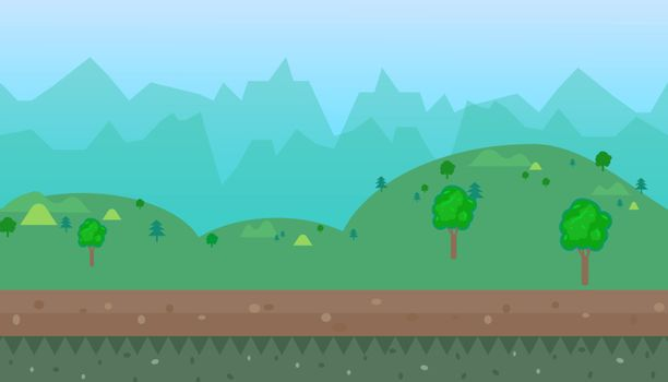 Vector cartoon natural landscape  background for game illustration