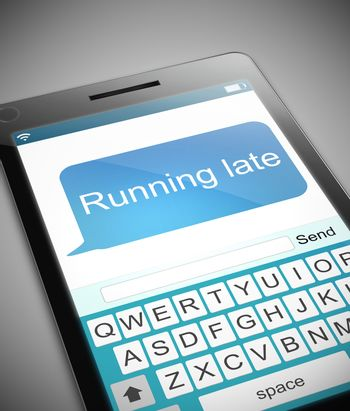 Illustration depicting a phone with a running late message concept.