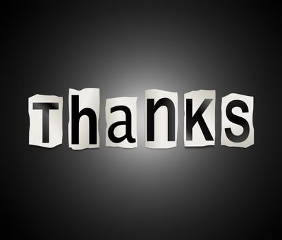 Illustration depicting a set of cut out printed letters arranged to form the word thanks.