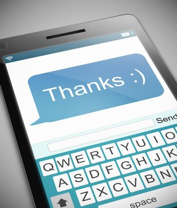Illustration depicting a phone with a thank you message concept.