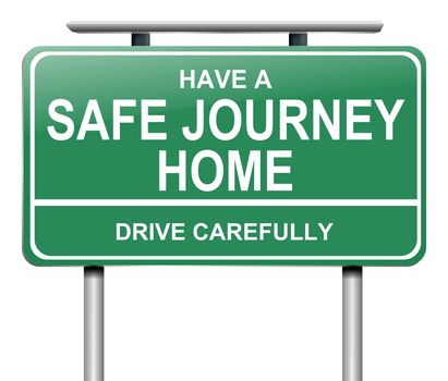 Illustration depicting a green road sign with a drive safely message.