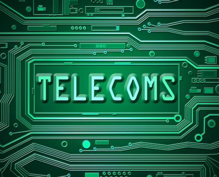 Abstract style illustration depicting printed circuit board components with a telecoms concept.