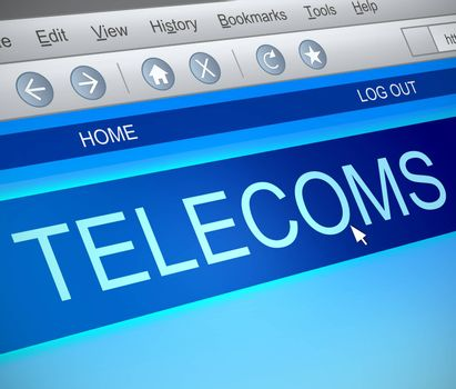 Illustration depicting a computer screen capture with a telecoms concept.
