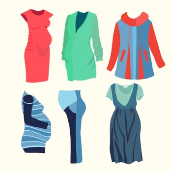Vector illustration  collection of fashion clothing for stylish Pregnant woman. Fashion boutique  for Pregnant woman fashion look .