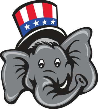 Republican Elephant Mascot Head Top Hat Cartoon
