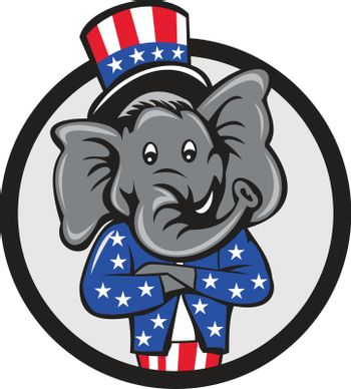 Republican Elephant Mascot Arms Crossed Circle Cartoon