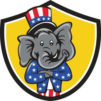 Republican Elephant Mascot Arms Crossed Shield Cartoon