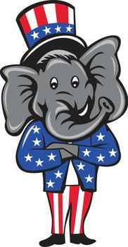 Republican Elephant Mascot Arms Crossed Standing Cartoon