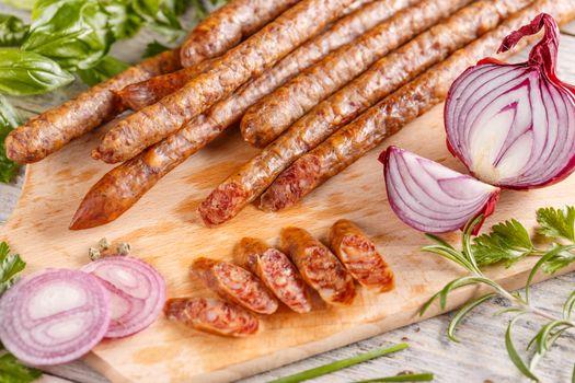 Thin salami sausages