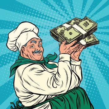 Retro chef with a bundle of money