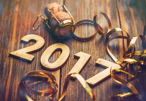 Wooden number of 2017