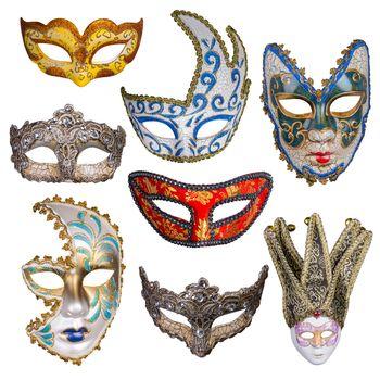 Eight ornate masks