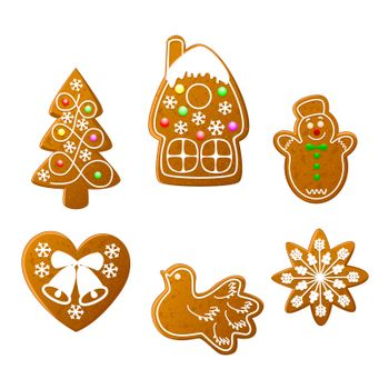Christmas cookies set on a white background. Christmas gingerbread.