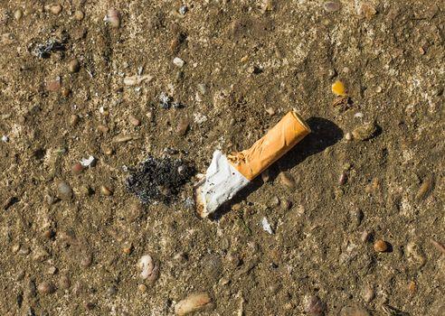 cigarette end on concrete