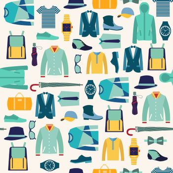 vector seamless pattern fashionable mens wear background for use in design. Fashion man cloth and accessories - Illustration