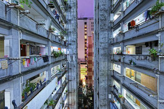 Hong kong slum downtown area