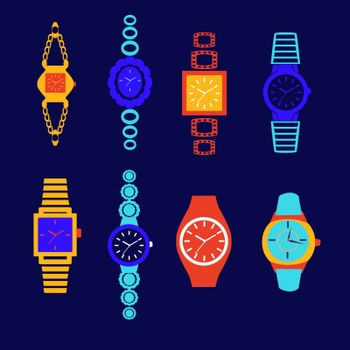 Vector collection of fashion watches in dark blue background -illustration