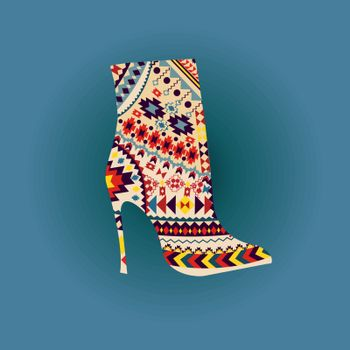 Vector Fashion Beautiful boot on high heel. Background of woman fashion high heel shoe boot with Ethnic and Geometric Elements