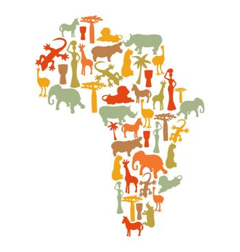 Vector Map of Africa with african symbols silhouette icons- illustration