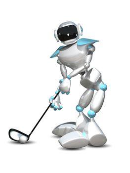 3D Illustration Robot Golfer on a White Background