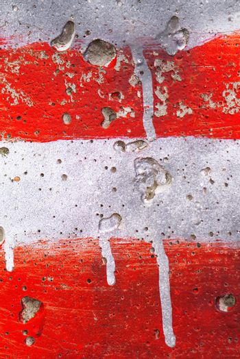 Red and white stripes painted on wall