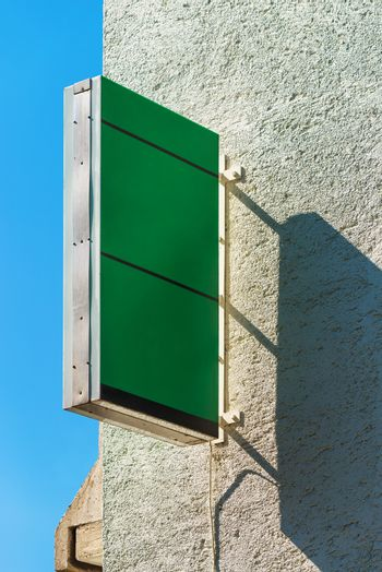 Retail store blank green square signboard as copy space