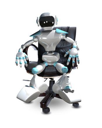 3D Illustration of a White Robot in a Chair