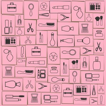 set of Fashion and beauty women accessories outline icons - Illustration