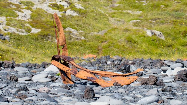 Remains of a boat wreck - Iceland - Selective focus