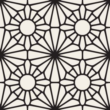 Vector Seamless Black and White Lace Ornamental Pattern. Abstract Geometric Background Design