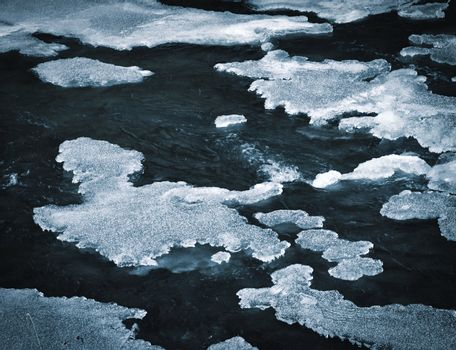ice formation on freezing river