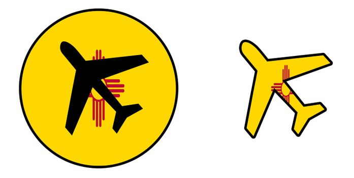 Nation flag - Airplane isolated - New Mexico