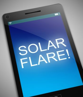 Illustration depicting a phone with a solar flare concept.
