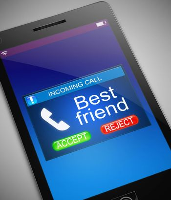 Illustration depicting a phone with a best friend calling concept.