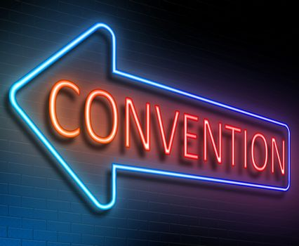 Illustration depicting an illuminated neon sign with a convention concept.