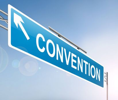 Illustration depicting a sign with a convention concept.