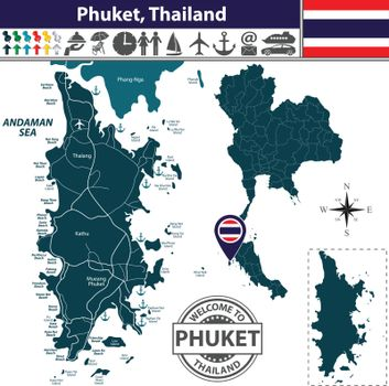Map of Phuket Province, Thailand