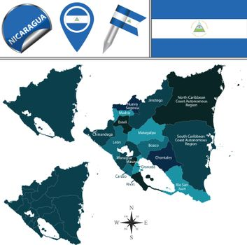 Map of Nicaragua with Named Departments