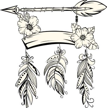 Sign with Arrow and Feathers