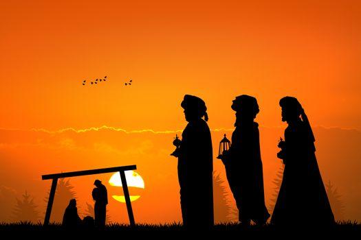 three wise men at sunset
