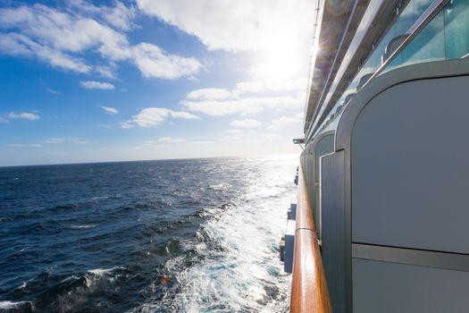 Luxury cruise traverses sea to uknown place