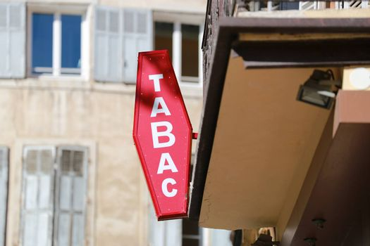 "French Red And White Sign Tabac. In France ""Tabac"" means Tobacco"